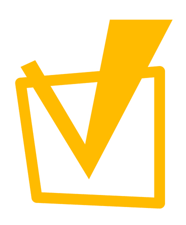 Yellow tick in checkbox vector cartoon illustration isolated on white background.