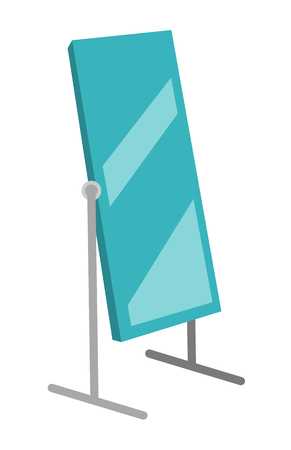 Tall large rotating dressing mirror on stand vector cartoon illustration isolated on white background. Illustration