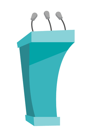 Rostrum with microphones vector cartoon illustration isolated on white background.