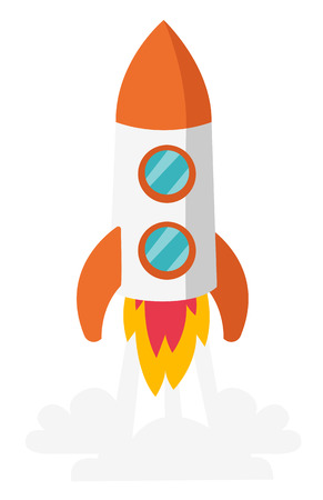 Rocket spaceship take off vector cartoon illustration isolated on white background.