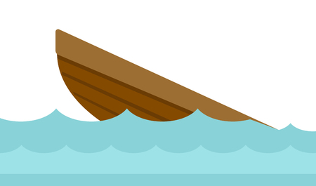 Wreck of a small wooden boat in water vector cartoon illustration isolated on white background. Illustration