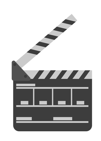 Movie clapper board vector cartoon illustration isolated on white background.