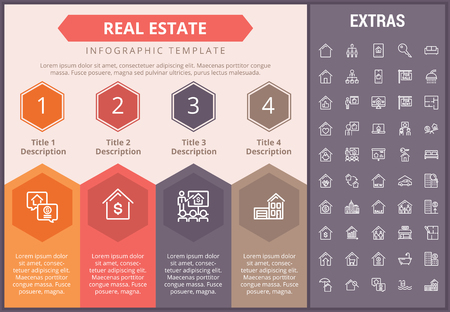 Real estate infographic timeline template, elements and icons. Infograph includes numbered options, line icon set with real estate agent, architecture engineering, investment broker Çizim