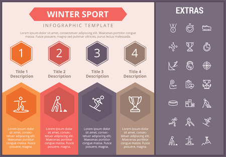 Winter sport infographic timeline template, elements and icons. Infograph includes numbered options, line icon set with sport equipment, winner trophy, team games, champion pedestal, athlete etc. 向量圖像