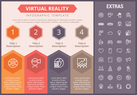 Virtual reality infographic timeline template, elements and icons. Infograph includes numbered options, line icon set with virtual reality glasses, vr technology, video game console, tech app etc.