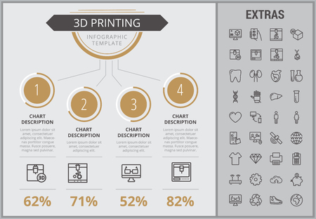 3D printing infographic template, elements and icons. Infograph includes numbered customizable charts, line icon set with 3D printer, products of 3D innovation technologies, printing machine etc.