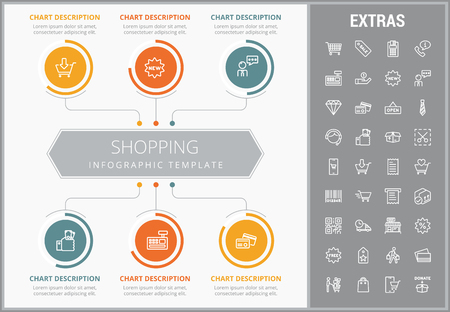 Shopping infographic template, elements and icons. Infograph includes customizable graphs, charts, line icon set with shopping cart, online store, mobile shop, price tag, retail business etc. Illustration