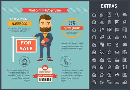 Real estate infographic template, elements and icons. Infograph includes line icon set with real estate agent, architecture engineering, investment broker, family house, realtor, property sale etc.
