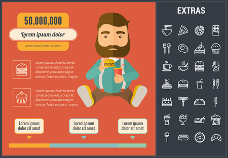 Fast food infographic template, elements and icons. Infograph includes customizable graph, line icon set with fast food, a piece of pizza, sweet snacks, restaurant meal, kitchen utensils, taco etc. Illustration