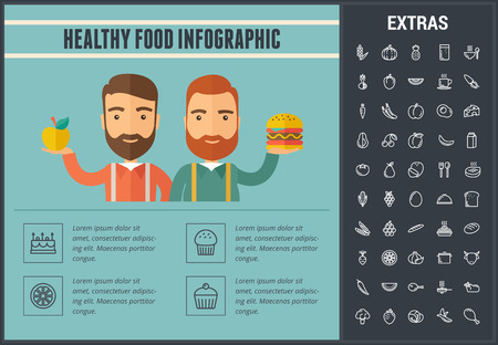 Healthy food infographic template, elements and icons. Infograph includes line icon set with food plate, restaurant meal ingredients, eat plan, fish, healthy fruits and vegetables, milk product etc.