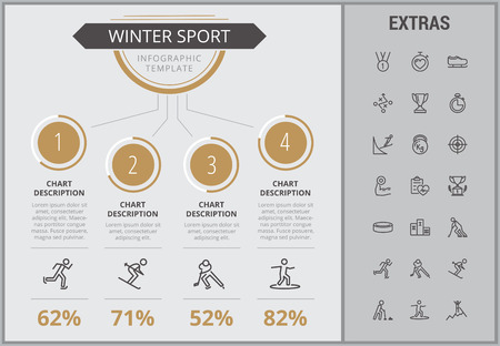 Winter sport infographic template, elements and icons. Infograph includes numbered customizable charts, line icon set with sport equipment, winner trophy, team games, champion pedestal, athlete etc.