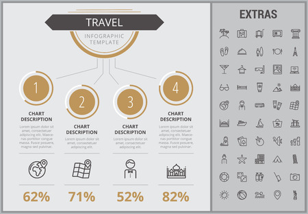 Travel infographic template, elements and icons. Infograph includes numbered customizable charts, line icon set with tourist attraction, luggage cart, travel planning, holiday vacation, traveler etc.