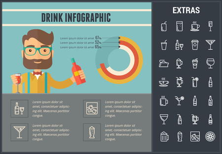 brandy: Drink infographic template, elements and icons. Infograph includes customizable graph, line icon set with bar drinks, alcohol beverage, variety of glasses and bottles, non-alcoholic beverages etc.