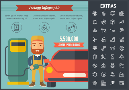 Ecology infographic template, elements and icons. Infograph includes line icon set with resources of green energy, environmental cycle, water and sun power, factory, oil rig, nuclear power plant etc.