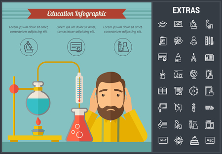 Education infographic template, elements and icons. Infograph includes line icon set with education certificate, university student, library books, college diploma, class board, school desk etc.