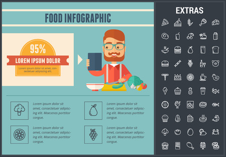 Food infographic template, elements and icons. Infograph includes line icon set with food ingredients, restaurant meal, fruit and vegetables, sweet snacks, fast food, eat plan, fish, cheese etc.