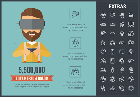 Virtual reality infographic template, elements and icons. Infograph includes line icon set with virtual reality glasses, vr technology, video game console, cloud computing, global network, rocket etc. Illustration