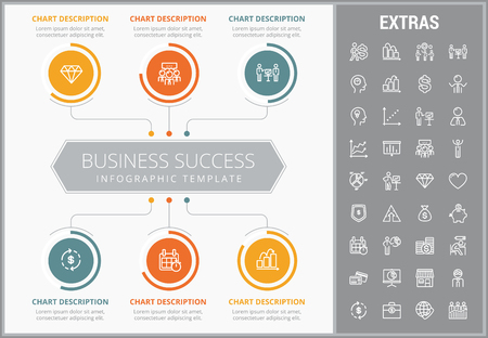 Business success infographic template, elements and icons.