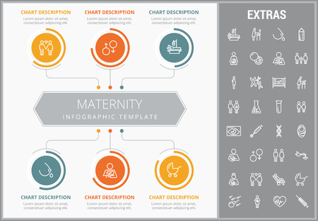 Maternity infographic template, elements and icons. Infograph includes customizable graphs, charts, line icon set with pregnant woman, breast feeding, child care, reproductive technologies etc.