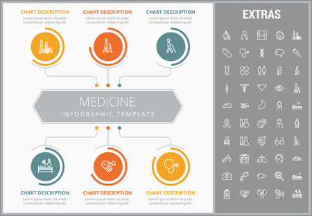Medicine infographic template, elements and icons. Infograph includes customizable graphs, charts, line icon set with medical stethoscope, disable person, hospital doctor, nurse, first aid kit etc. Illustration