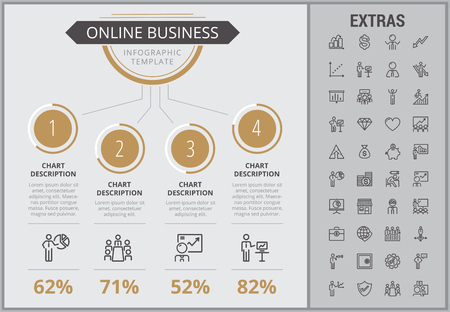Online business infographic template, elements and icons. Infograph includes numbered customizable charts, line icon set with stack of money, online market, business worker, mobile shop etc. Illustration