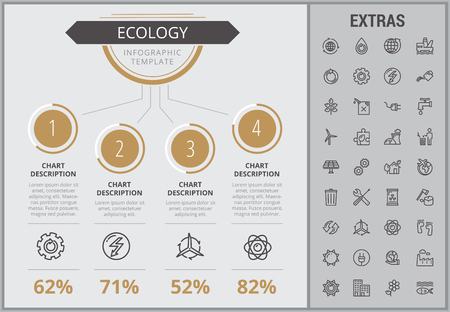 Ecology infographic template, elements and icons. Infograph includes numbered customizable charts, line icon set with resources of green energy, environmental cycle, water and sun power, factory etc.