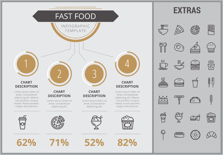Fast food infographic template, elements and icons. Infograph includes numbered customizable charts, line icon set with fast food, a piece of pizza, sweet snacks, restaurant meal, unhealthy meal etc.