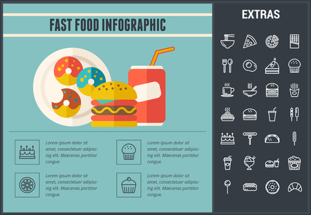 Fast food infographic template, elements and icons. Infograph includes line icon set with fast food, a piece of pizza, sweet snacks, restaurant meal, unhealthy nutrition, kitchen utensils, taco etc.