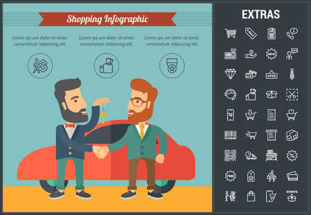 Shopping infographic template, elements and icons. Infograph includes line icon set with shopping cart, online store, mobile shop, price tag, retail business, cash machine, credit card payment etc. Illustration
