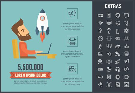 Startup infographic template, elements and icons. Infograph includes customizable graphs, charts, line icon set with startup rocket, business launch, global network technology, internet connection etc Illustration