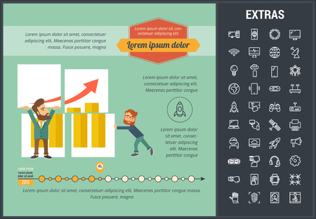 Startup infographic template, elements and icons. Infograph includes customizable graph, chart, line icon set with startup rocket, business launch, global network technology, internet connection etc. Illustration
