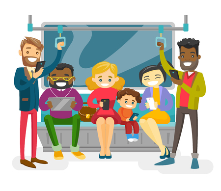 Multicultural people traveling by public transport and using their smartphones and tablet. Group of African, Cacasian, Asian passengers in public transport. Vector isolated cartoon illustration.