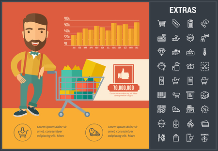Shopping infographic template, elements and icons. Infograph includes customizable bar chart, line icon set with shopping cart, online store, mobile shop, price tag, retail business, cash machine etc. Illustration