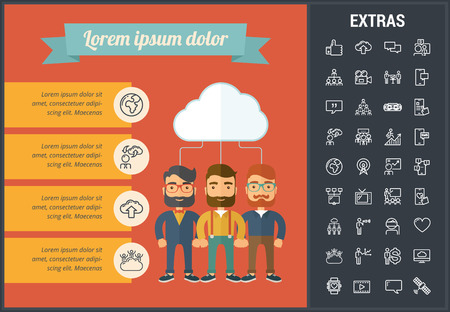 Social media infographic template, elements and icons. Infograph includes line icon set with global social media, network connection, electronic mail, internet technology, organization chart etc. Illustration