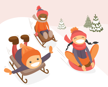 Diverse group of multicultural boys and girl sliding down on rubber tubes and sledge in winter park. Asian, African and Caucasian kids enjoying a sleigh ride. Vector isolated cartoon illustration. Illustration