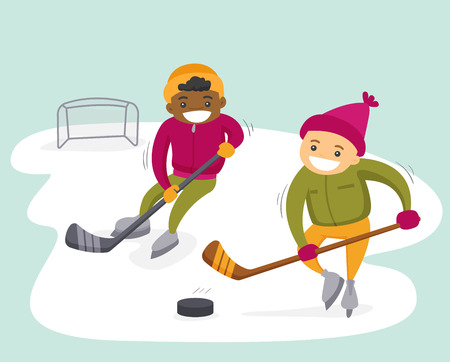 Two teenage african-american and caucasian boys playing ice hockey on an outdoor ice skating rink. Multiethnic kids having fun at outdoor skating rink in winter. Vector isolated cartoon illustration.