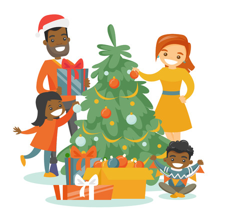 Young happy multiethnic family decorating the Christmas tree. Cheerful African-american father and Caucasian mother with their biracial kids celebrating Christmas. Vector isolated cartoon illustration
