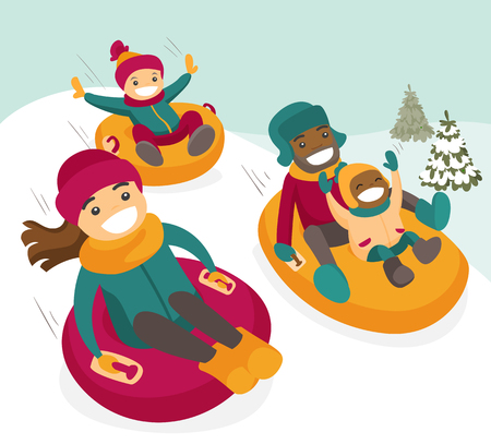 Multiethnic family sliding down the hill on tubes in winter park. African father and Caucasian mother with mulatto kids enjoying a ride on inflatable sledges. Vector isolated cartoon illustration. Stock Illustratie