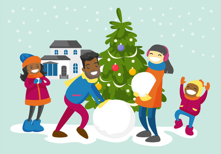 Young happy multiracial family making a snowman in the yard. Cheerful African father and Asian mother playing in the snow with their biracial children outdoors. Vector isolated cartoon illustration.