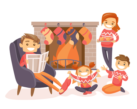 Little Caucasian boy and girl making Christmas decorations near the fireplace at home while their mother standing nearby with cocoa and father reading a newspaper. Vector isolated cartoon illustration