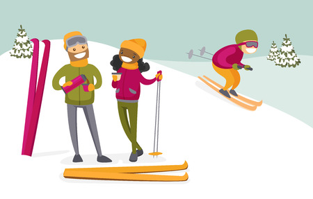 Young multicultural couple of skiers drinking hot coffee from flask at ski resort. Happy african-american woman and caucasian man having break after skiing. Vector isolated cartoon illustration.