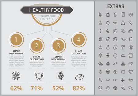 Healthy food infographic template, elements and icons. Infograph includes numbered customizable charts, line icon set with food plate, restaurant meal ingredients, eat plan, fish, vegetables, meat etc