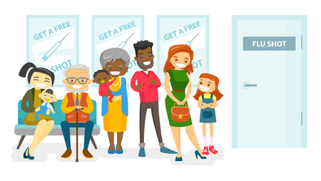 Group of multicultural people waiting in a queue in the hospital to get a free flu shot. Asian, african, caucasian patients waiting for a doctor in hospital lobby. Vector isolated cartoon illustration