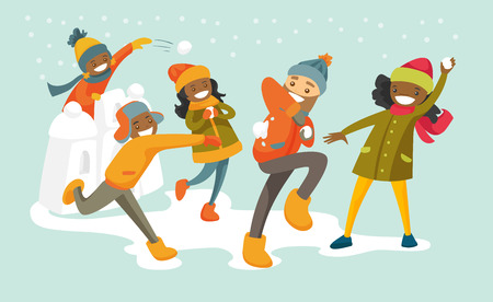 Multicultural family playing snowball fight and having fun in snow in winter. African mother and Caucasian father playing snowballs with their biracial children. Vector isolated cartoon illustration. Stock Photo