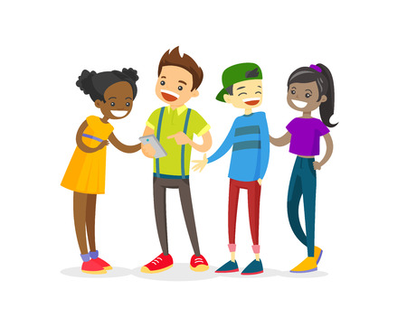 Multicultural group of teenage friends looking at smartphone and laughing. Cheerful Asian, African and Caucasian teenagers watching video on a smartphone. Vector isolated cartoon illustration. 版權商用圖片