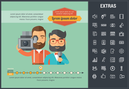 Media infographic template, elements and icons. Infograph includes customizable graph, line icon set with user profile, tv broadcast, music note, press media, mic, vinyl record, video camera etc.