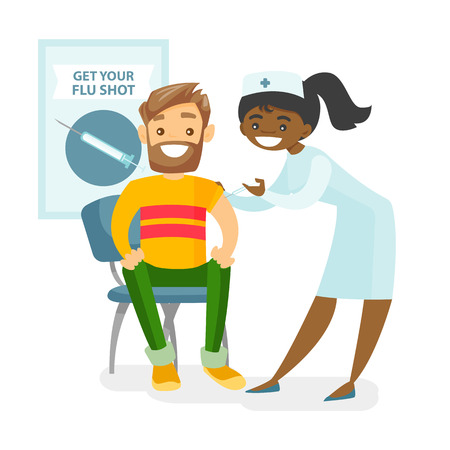 African-american doctor woman giving a free flu vaccination shot to the arm of a caucasian male patient. Young happy smiling doctor vaccinating a man against flu. Vector isolated cartoon illustration. Stock Photo