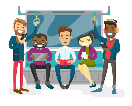 Multiracial people with paper book, smartphones, tablet computer traveling by metro.