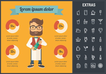 Drink infographic template, elements and icons. Infograph includes customizable graph, line icon set with bar drinks, alcohol beverage, variety of glasses and bottles, non-alcoholic beverages etc.