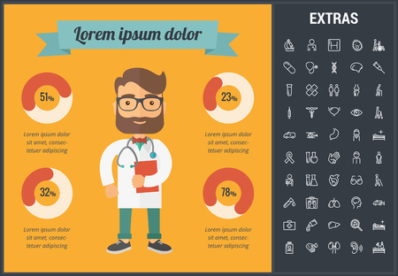 Medicine infographic template, elements and icons. Infograph includes customizable graphs, charts, line icon set with medical stethoscope, disable person, hospital doctor, nurse, first aid kit etc. 向量圖像